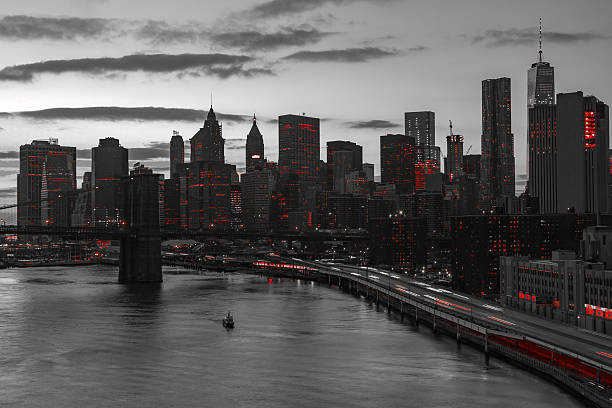 new york city red lights in black and white - gothic style stock pictures, royalty-free photos & images