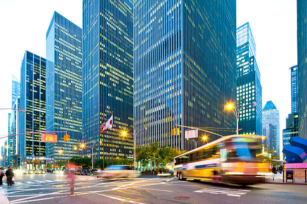 New York City, Rockefeller Center at night stock photo