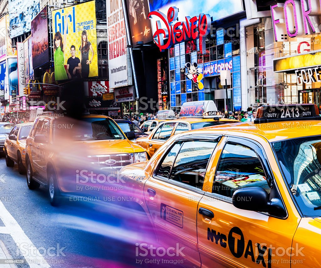 New York City: Row of Taxi Cabs stock photo