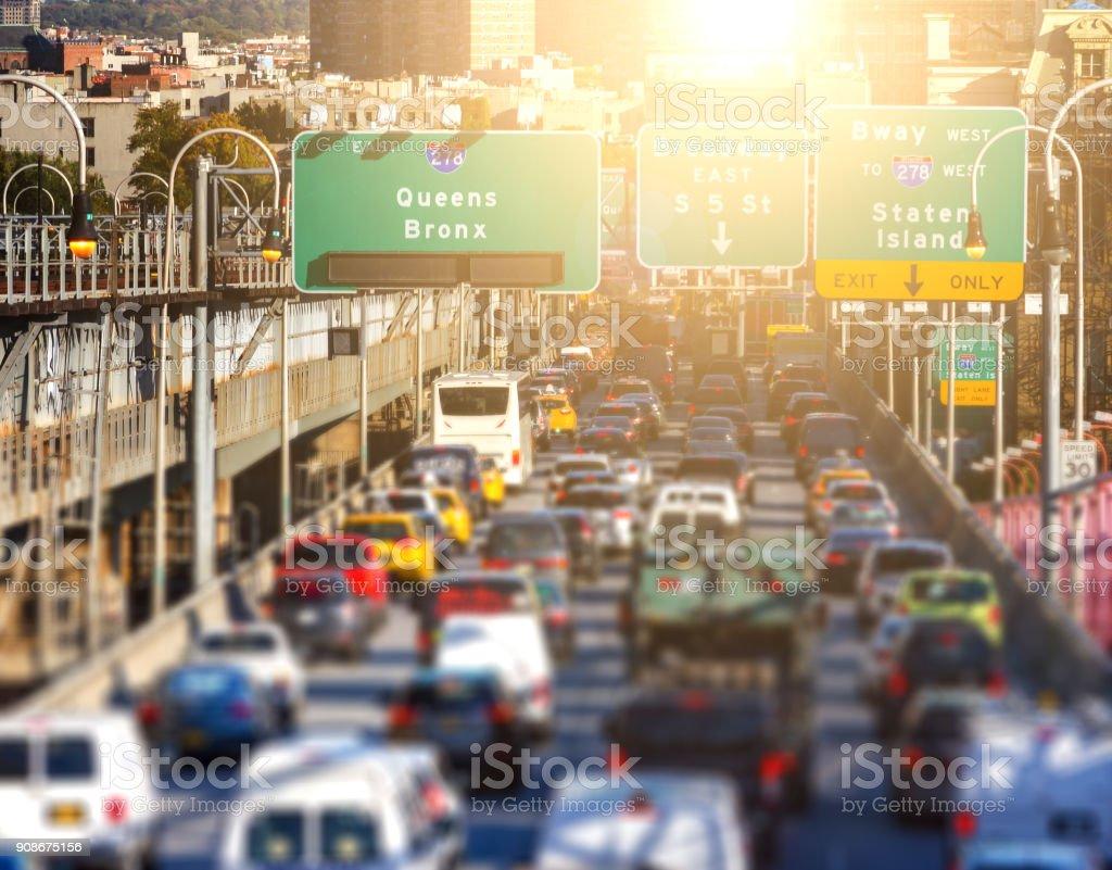 New York City rush hour traffic jam on the Williamsburg Bridge in Brooklyn stock photo