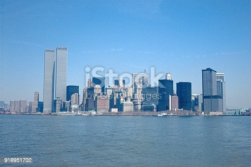 New York City, NY, USA, 1974. Skyline from the southern tip of New York City (Manhattan).