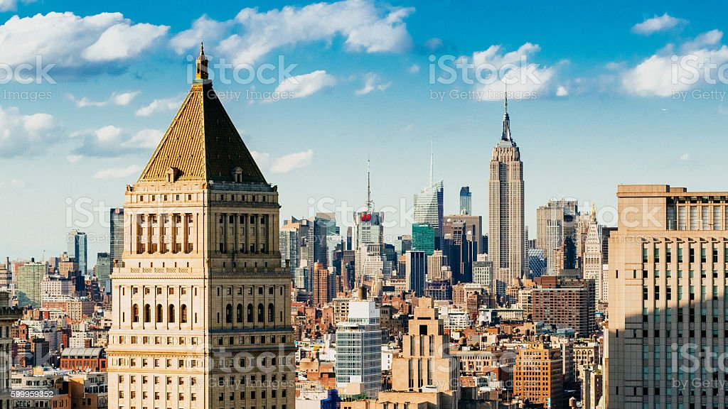 New York City Skyline Aerial View stock photo