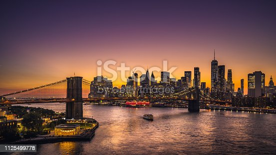Beautiful sunset over Lower Manhattan.