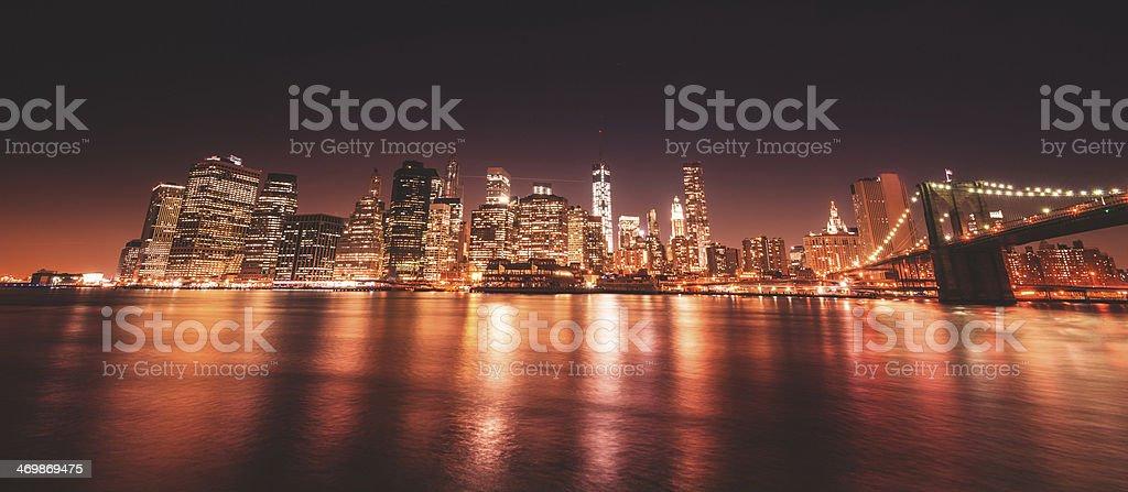 new york city skyline and brooklyn bridge royalty-free stock photo
