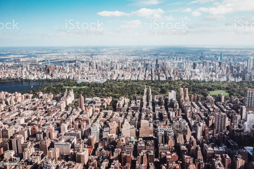 New York City Skyline and Central Park Aerial View royalty-free stock photo