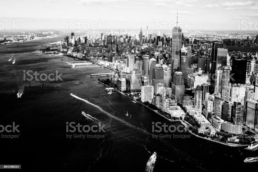 New York City Skyline and Hudson River in Black and White royalty-free stock photo