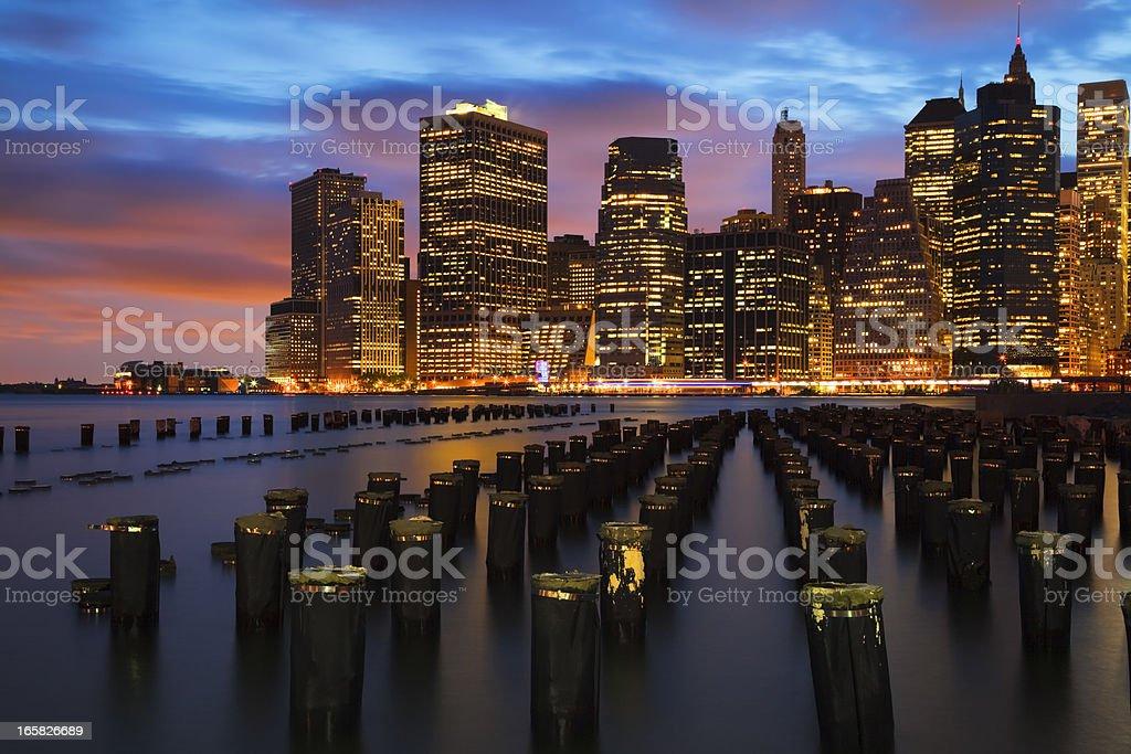 New York City Skyline at night royalty-free stock photo