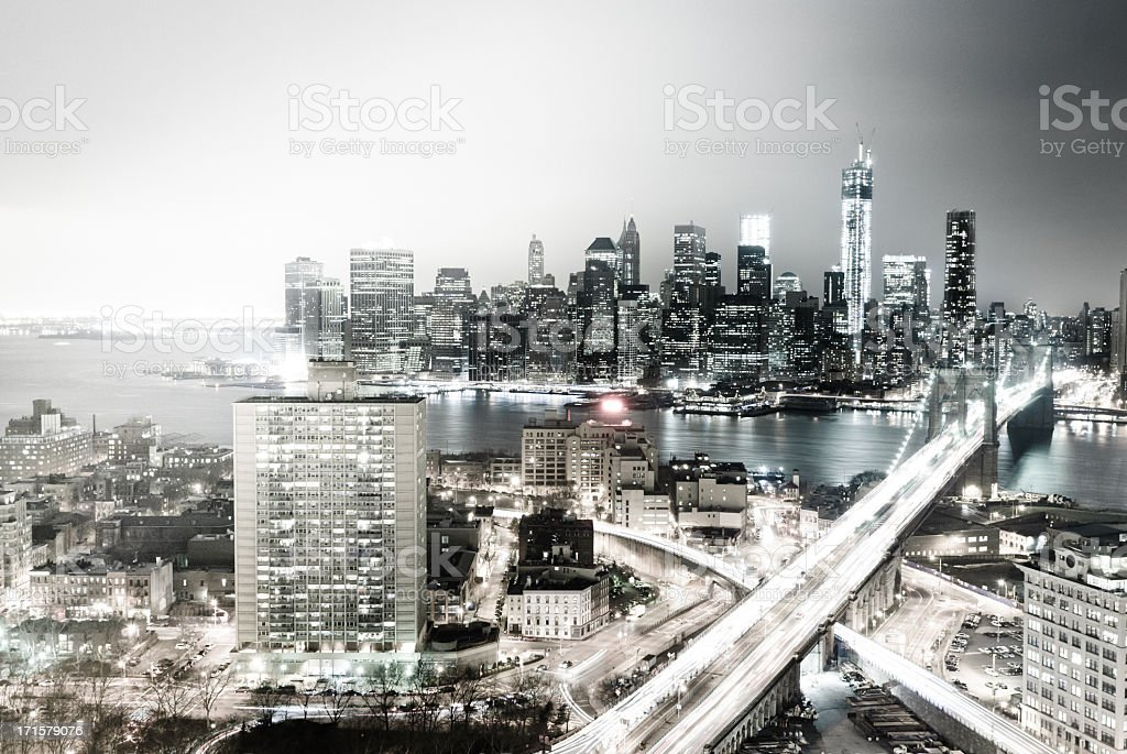 New York City Skyline At Night stock photo