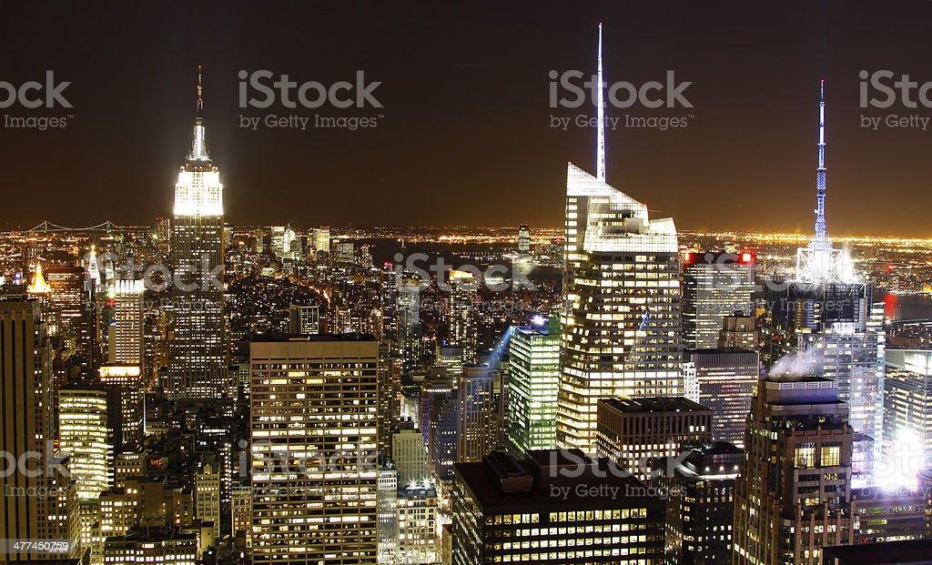 New York City skyline at night. stock photo
