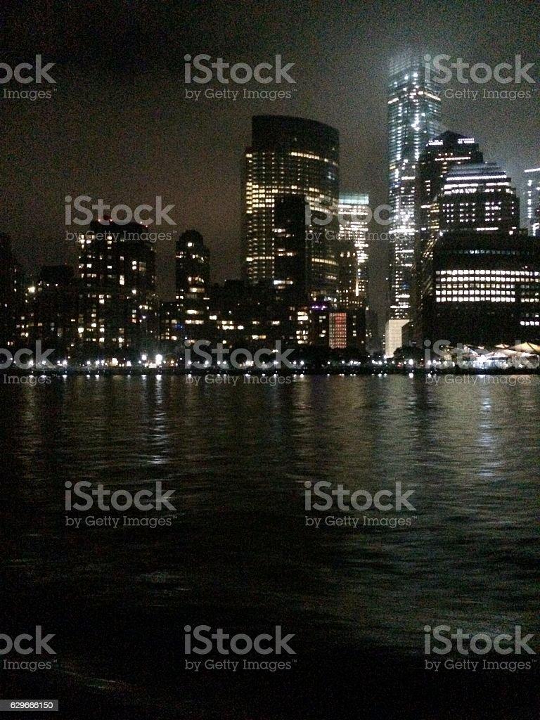 New York City Skyline at Night stock photo