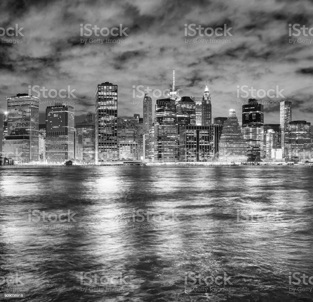 New York City skyline at night, USA stock photo