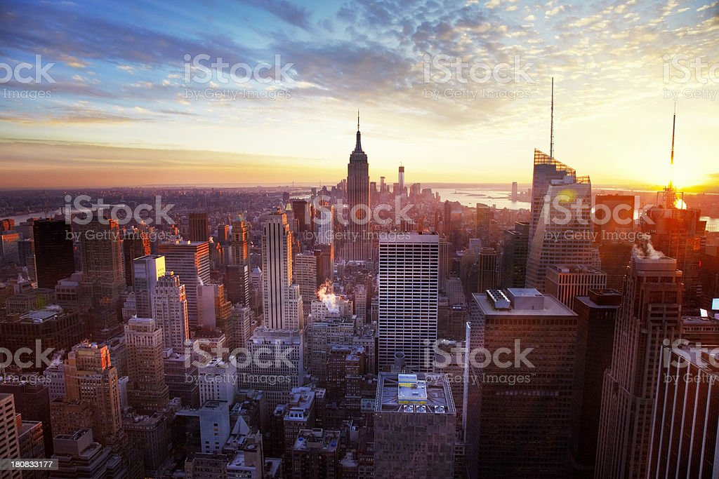 New York City skyline at sunset royalty-free stock photo