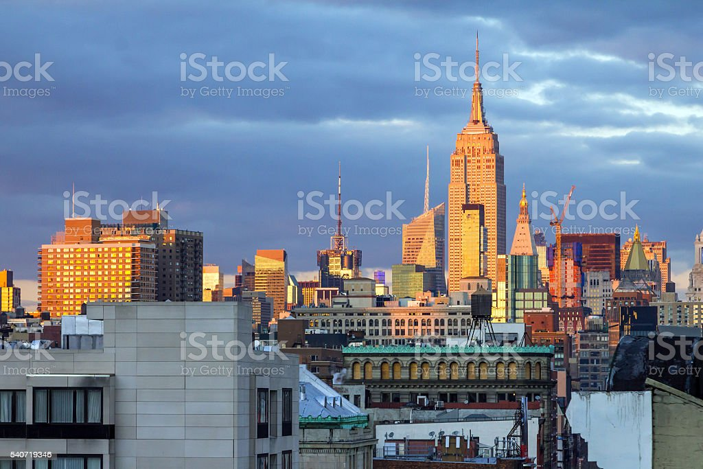 New York City Skyline at Sunset stock photo