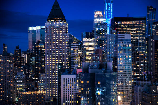 New York City skyline at twilight stock photo