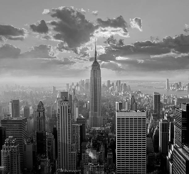 New York City Skyline, Black and White stock photo