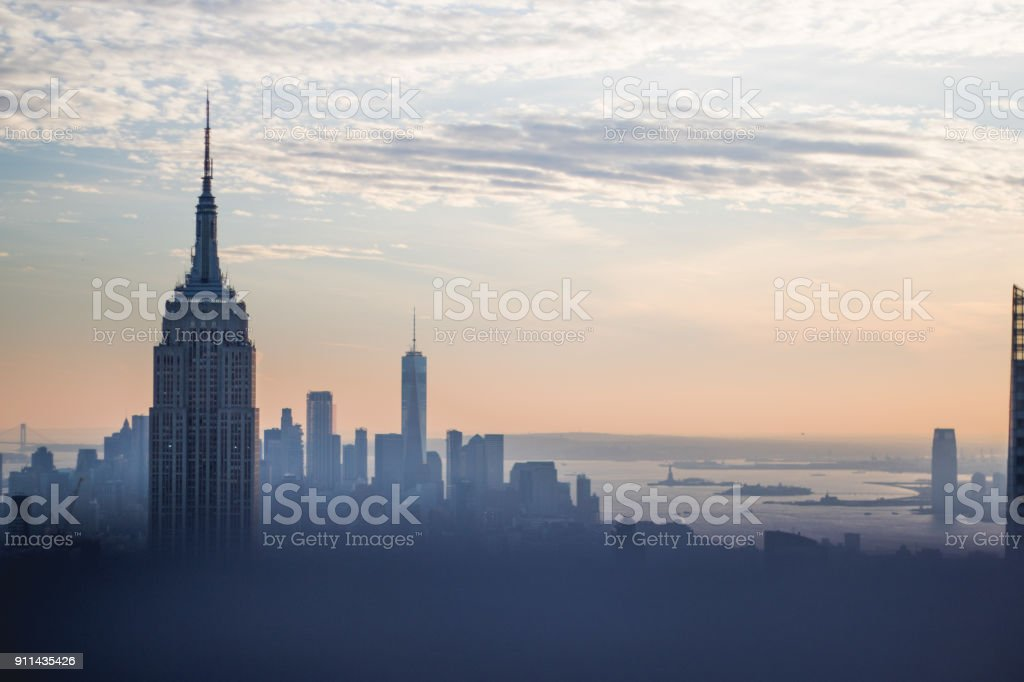 New York City Skyline bâtiments Sunset - Photo de Architecture libre de droits