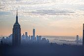 New York City Skyline Buildings Sunset Empire State Building