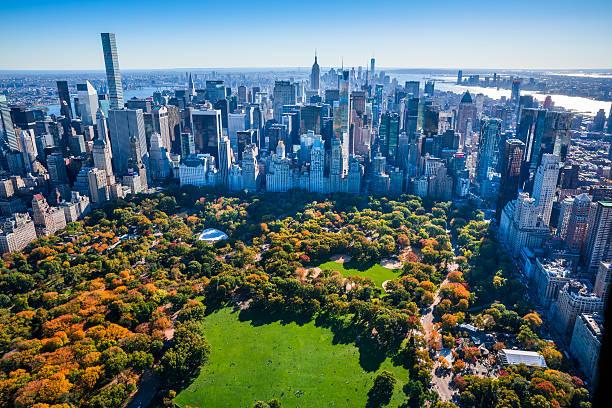 New York City Skyline, Central Park, autumn foliage, aerial view stock photo