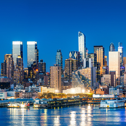New York City Skyline. View of columbus circle from across Hudson river.