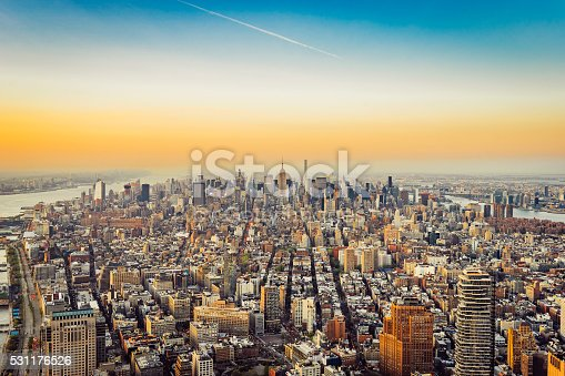 New York City Skyline - Midtown and Empire State Building At Sunset