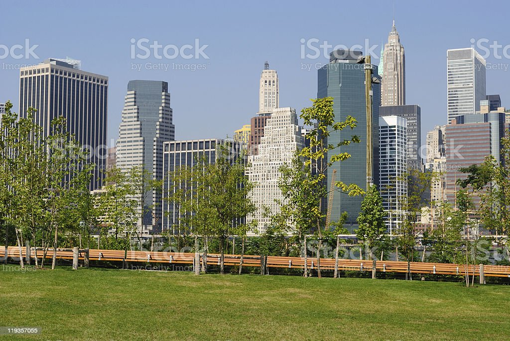 New York City Skyline From a Brooklyn Park stock photo