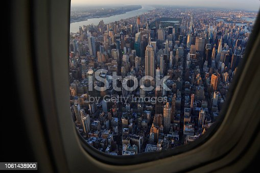 New York City Skyline shot From Above in a plane