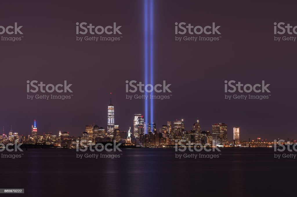 New York City Skyline from Bayonne during September 11th Memorial stock photo