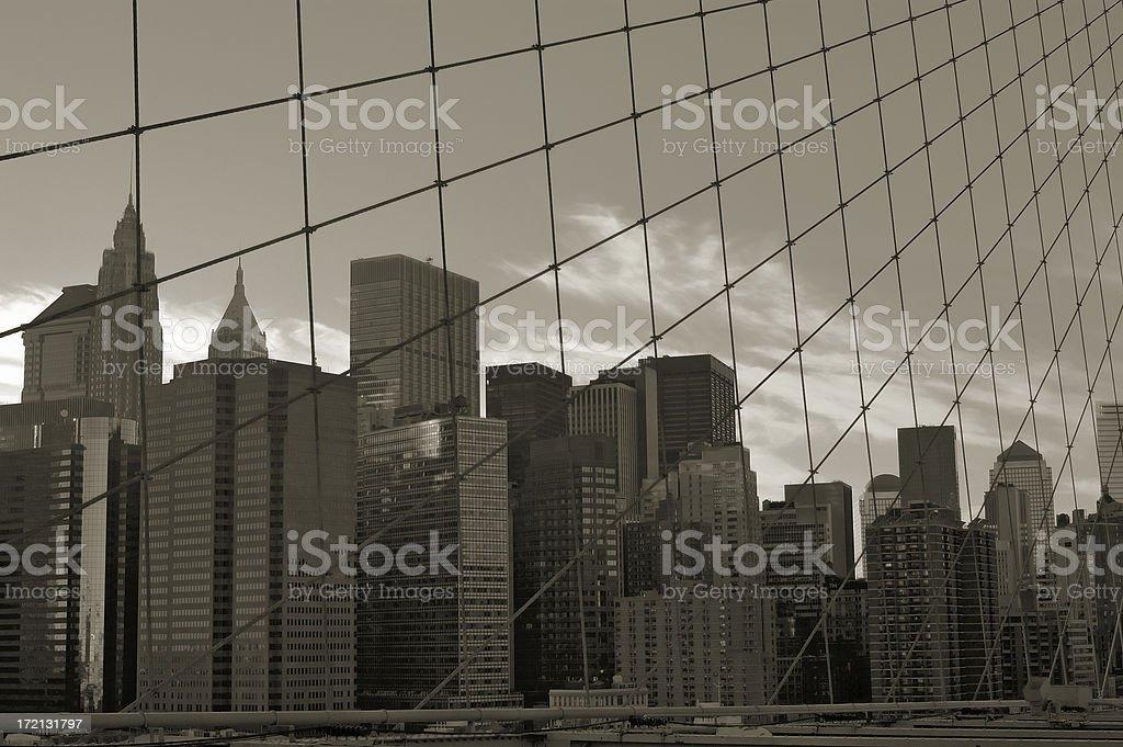 New York City skyline from the Brooklyn Bridge. stock photo