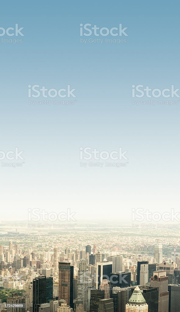 New york city skyline from the helicopter royalty-free stock photo