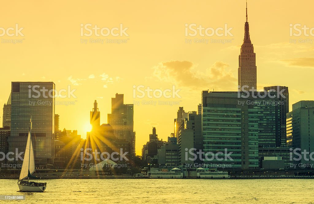 New york city skyline from the river royalty-free stock photo
