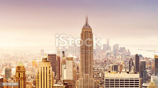 istock New York City skyline in soft sepia colors 505381880