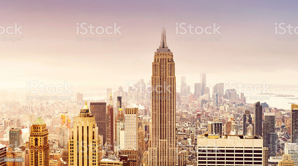 New York City skyline in soft sepia colors stock photo