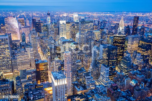 istock New York City Skyline, Manhattan, Aerial View at Night 516768600