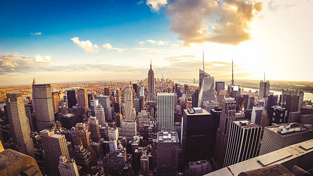 New York City Skyline - Midtown and Empire State Building New York City Skyline - Midtown and Empire State Building fish eye lens stock pictures, royalty-free photos & images