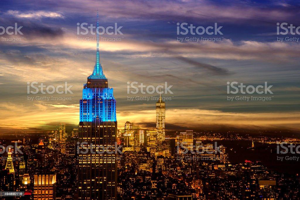 New York City skyline. Night. Empire State Building. Twilight sky. stock photo