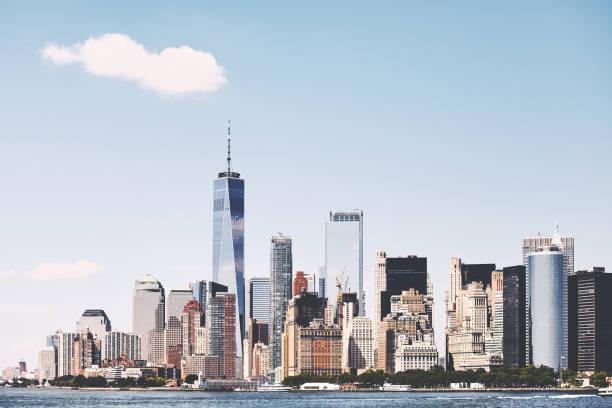 New York City skyline on a beautiful sunny day, USA. stock photo
