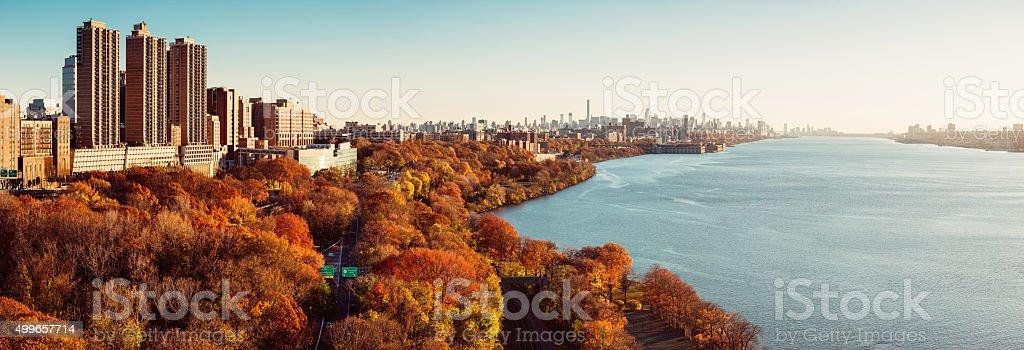New York City Skyline Panorama over Hudson River at Sunset stock photo