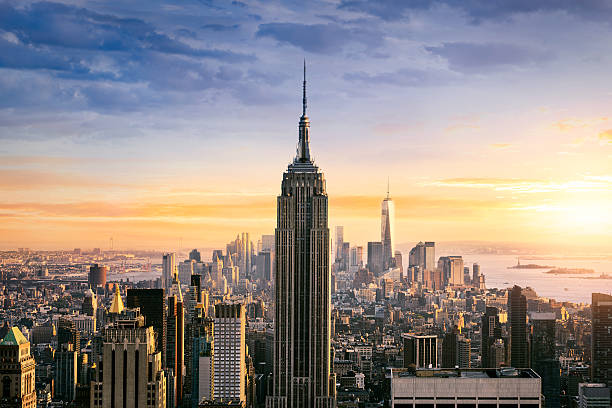 new york city skyline - international landmark stock photos and pictures
