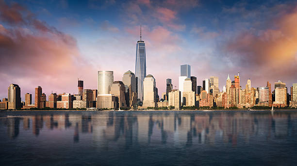 new york city skyline - wall street lower manhattan stock pictures, royalty-free photos & images