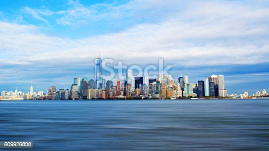 New York City, NY, United States of America. New York skyline as seen from Liberty Island.