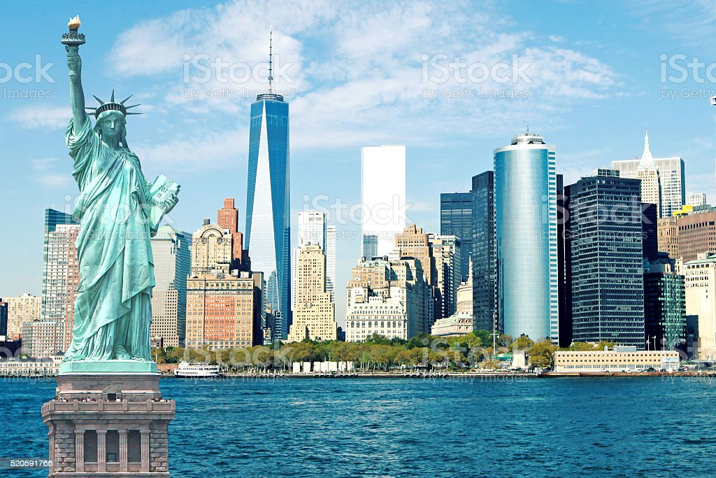 New York City Skyline Statue of Liberty stock photo