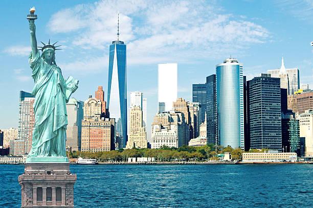 New York City Skyline Statue of Liberty stock photo