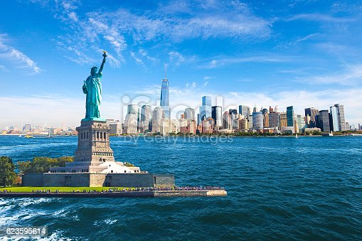 Amazing view of the Statue of Liberty, Skyline, One World Trade Center.