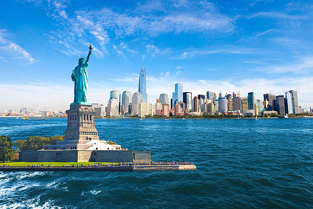 New York City Skyline Statue of Liberty Amazing view of the Statue of Liberty, Skyline, One World Trade Center. new york state stock pictures, royalty-free photos & images