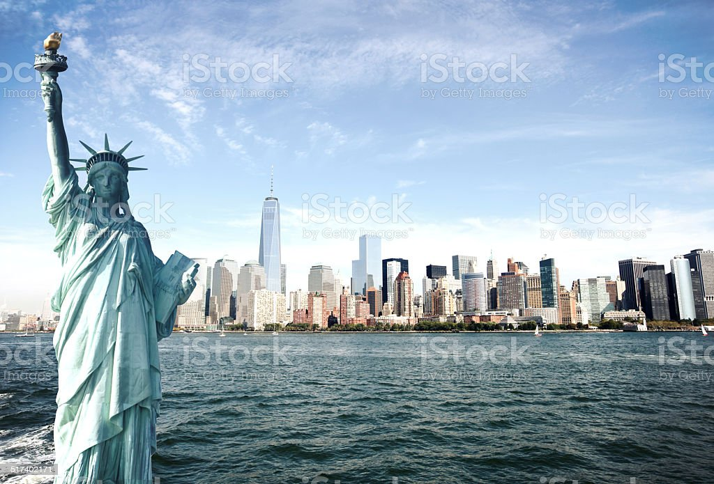 New York City Skyline, Statue of Liberty, World Trade Center stock photo