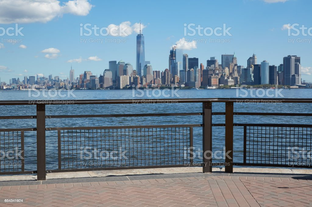 New York city skyline view from empty dock terrace in a sunny day stock photo