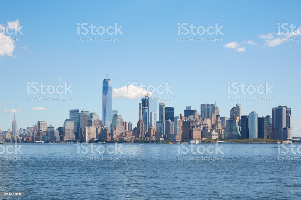 New York city skyline view in a clear day, blue sky stock photo