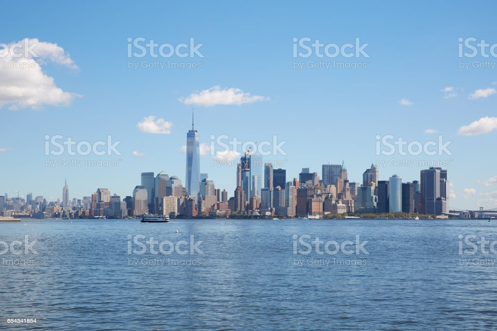 New York city skyline wide view in a clear sunny day stock photo