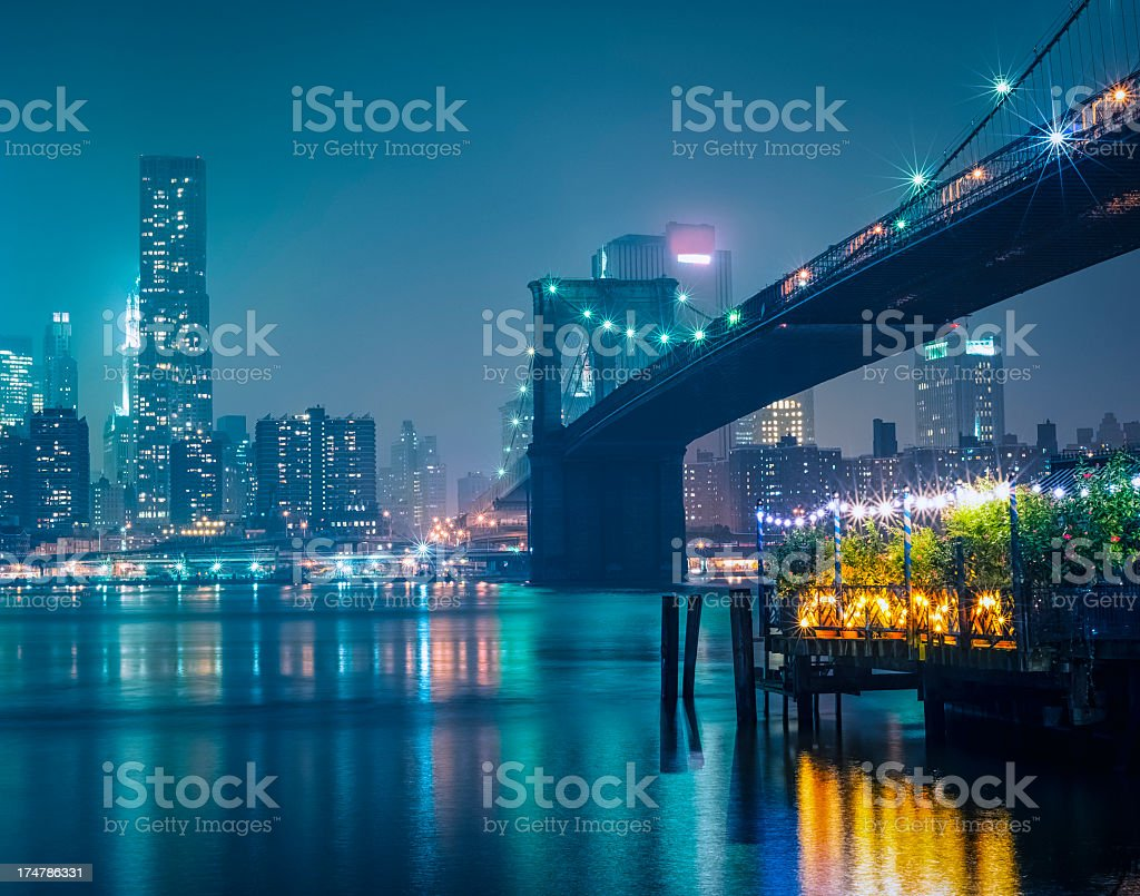 New York City skyline with Brooklyn bridge by night royalty-free stock photo