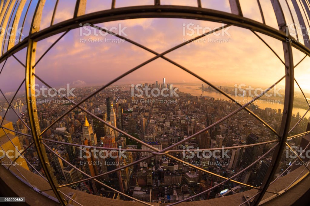 New York City skyline with Manhattan skyscrapers at dramatic stormy sunset, USA. royalty-free stock photo